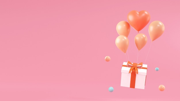 Wszystkiego najlepszego z okazji urodzin z pudełkiem, balon na różowym czarnym tle. renderowanie 3d