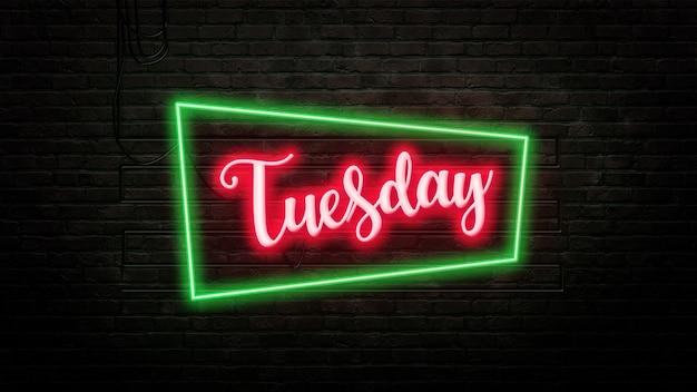 Wtorek znak godło w stylu neonowym na tle ściany z cegły