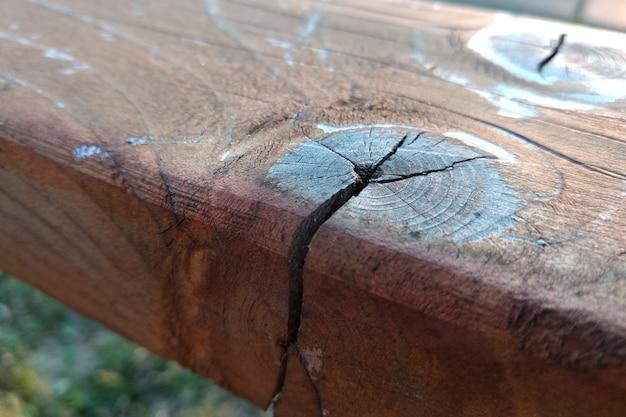 Wyblakła drewniana deska z pęknięciami i sękami.