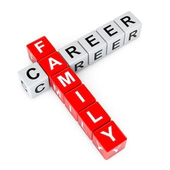 Wybór między rodziną i karierą krzyżówka bloki kostek na białym tle renderowanie 3d