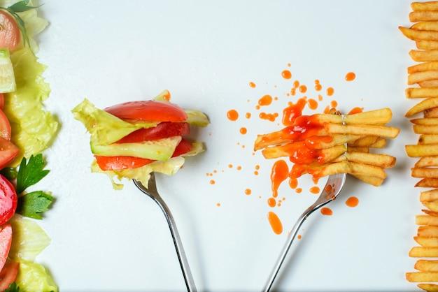 Wybór zdrowego lub niezdrowego jedzenia