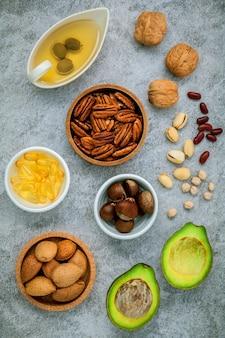 Wybór źródeł pokarmowych kwasów omega 3 i nienasyconych.
