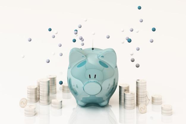 Wybredny bank i moneta, do inwestowania pieniędzy, pomysły na zaoszczędzenie pieniędzy do wykorzystania w przyszłości. renderowania 3d