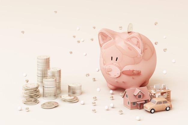Wybredny bank i moneta, do inwestowania pieniędzy, pomysły na zaoszczędzenie pieniędzy do wykorzystania w przyszłości. ze stołem roboczym oraz samochodem i domem. renderowania 3d