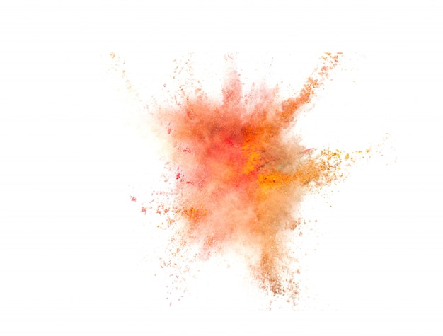 Wybuch kolorowego proszku na białym tle