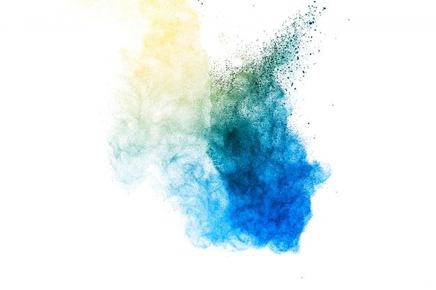 Wybuch pyłu niebieskiego i żółtego.