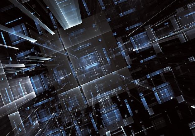 Wygenerowane komputerowo abstrakcyjne obrazy tehnology. trójwymiarowy fraktal 3d, tekstury