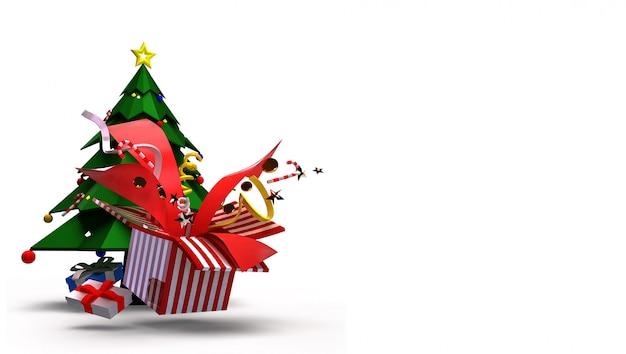 Wygenerowano w 3d dla bożego narodzenia i szczęśliwego nowego roku koncepcji. składa się z choinek, pudełek na prezenty i pięknych zabawek, które eksplodują.
