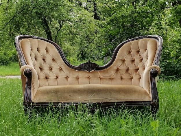 Wygodna sofa w stylu vintage do domu na zielonej trawie
