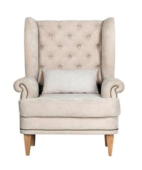 Wygodne krzesło klasyczne szare na białym tle