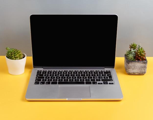 Wygodne minimalistyczne miejsce pracy z laptopem i sukulentami na żółtym biurku, makieta do projektowania na ekranie komputera. nowoczesny komputer przenośny z miejscem na stronę internetową lub reklamę na stole. praca online, edukacja