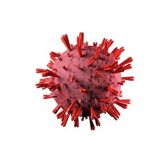 Wyizolowana komórka 3d koronawirusa covid-19. ilustracja 3d.