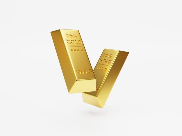 Wyizolowany z dwóch sztabek złota lub sztabek złota układania na białym tle techniką renderowania 3d.