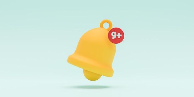 Wyizolowany żółty alert dzwonka powiadomienia dzwonka z dziewięcioma powiadomieniami na niebieskim tle dla smartfona i przypomnienia o aplikacji przez technikę renderowania 3d.