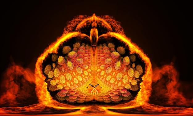 Wyjątkowa ilustracja 3d, która wygląda jak fantastyczny tropikalny owoc w cięciu. kwiat lotosu