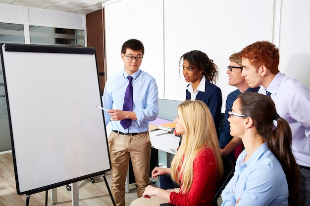 Wykonawczy zespół biznesmen prezentacji zespołu