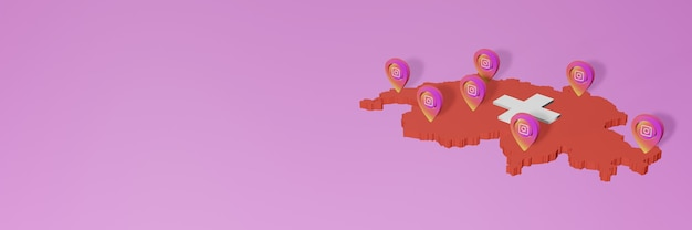 Wykorzystanie mediów społecznościowych i instagrama w szwajcarii do infografik w renderowaniu 3d