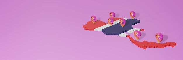 Wykorzystanie mediów społecznościowych i instagrama w tajlandii do tworzenia infografik w renderowaniu 3d