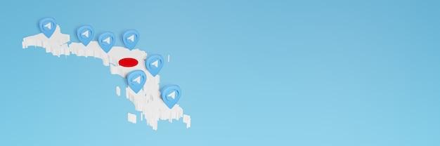 Wykorzystanie mediów społecznościowych i telegramu w japonii do infografiki w renderowaniu 3d