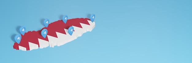 Wykorzystanie mediów społecznościowych i telegramu w katarze do infografik w renderowaniu 3d