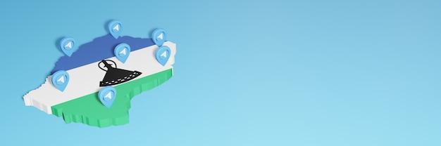 Wykorzystanie mediów społecznościowych i telegramu w lesotho do tworzenia infografik w renderowaniu 3d
