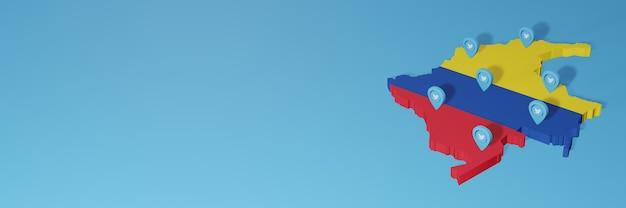 Wykorzystanie mediów społecznościowych i twittera w kolumbii do infografik w renderowaniu 3d