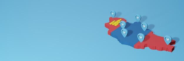 Wykorzystanie mediów społecznościowych i twittera w mongolii do infografik w renderowaniu 3d