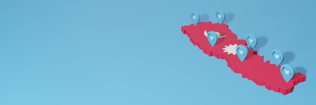 Wykorzystanie mediów społecznościowych i twittera w nepalu do infografik w renderowaniu 3d