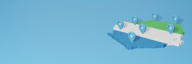 Wykorzystanie mediów społecznościowych i twittera w siera leone do infografik w renderowaniu 3d