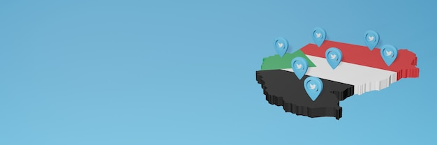 Wykorzystanie mediów społecznościowych i twittera w sudanie do infografik w renderowaniu 3d