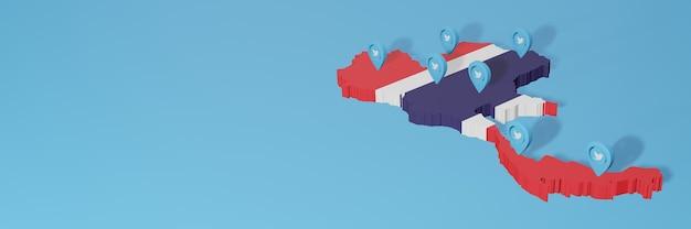 Wykorzystanie mediów społecznościowych i twittera w tajlandii do infografik w renderowaniu 3d
