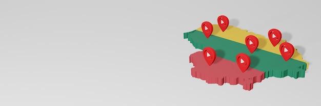Wykorzystanie mediów społecznościowych i youtube na litwie do infografik w renderowaniu 3d