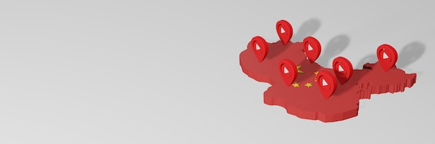 Wykorzystanie mediów społecznościowych i youtube w chinach do infografik w renderowaniu 3d