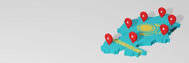 Wykorzystanie mediów społecznościowych i youtube w kazachstanie do infografik w renderowaniu 3d