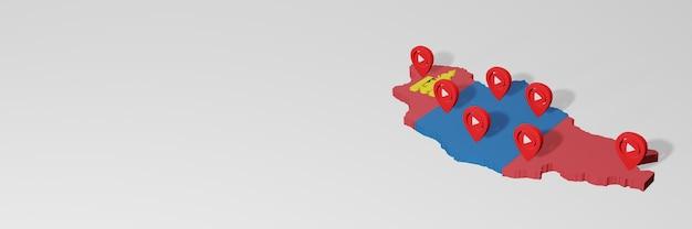 Wykorzystanie mediów społecznościowych i youtube w mongolii do infografik w renderowaniu 3d