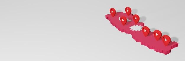 Wykorzystanie mediów społecznościowych i youtube w nepalu do infografik w renderowaniu 3d