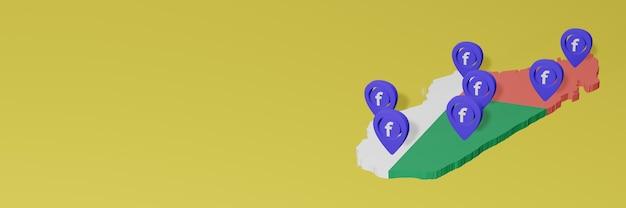 Wykorzystywanie i dystrybucja mediów społecznościowych facebook na madagaskarze do infografik w renderowaniu 3d