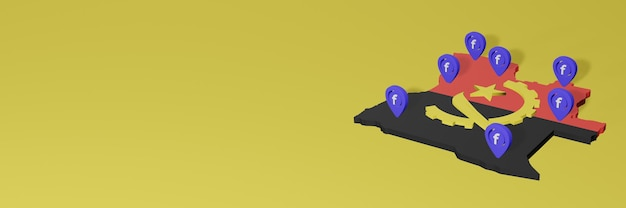 Wykorzystywanie i dystrybucja mediów społecznościowych facebook w angoli do tworzenia infografik w renderowaniu 3d