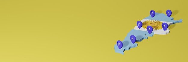 Wykorzystywanie i dystrybucja mediów społecznościowych facebook w argentynie do infografik w renderowaniu 3d