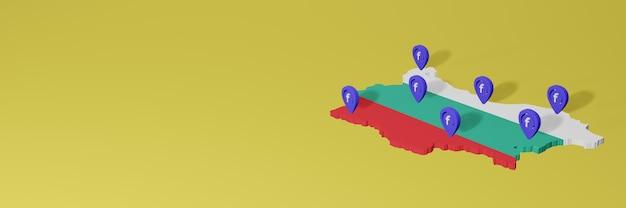 Wykorzystywanie i dystrybucja mediów społecznościowych facebook w bułgarii do tworzenia infografik w renderowaniu 3d