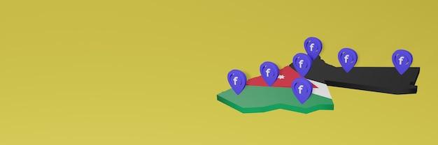 Wykorzystywanie i dystrybucja mediów społecznościowych facebook w jordanii do tworzenia infografik w renderowaniu 3d
