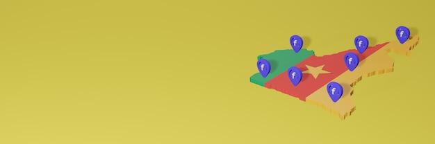 Wykorzystywanie i dystrybucja mediów społecznościowych facebook w kamerunie do infografik w renderowaniu 3d