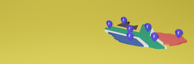 Wykorzystywanie i dystrybucja mediów społecznościowych facebook w rpa do infografik w renderowaniu 3d