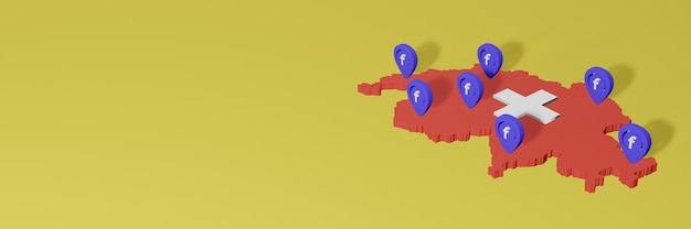Wykorzystywanie i dystrybucja mediów społecznościowych facebook w szwajcarii do infografik w renderowaniu 3d
