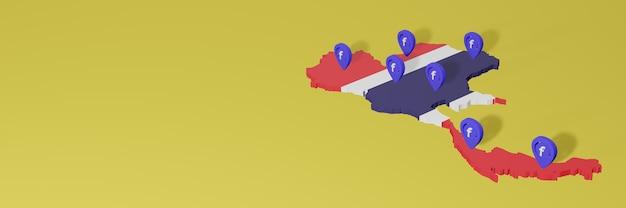 Wykorzystywanie i dystrybucja mediów społecznościowych facebook w tajlandii do tworzenia infografik w renderowaniu 3d