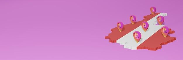 Wykorzystywanie i dystrybucja mediów społecznościowych instagram w austrii do infografik w renderowaniu 3d