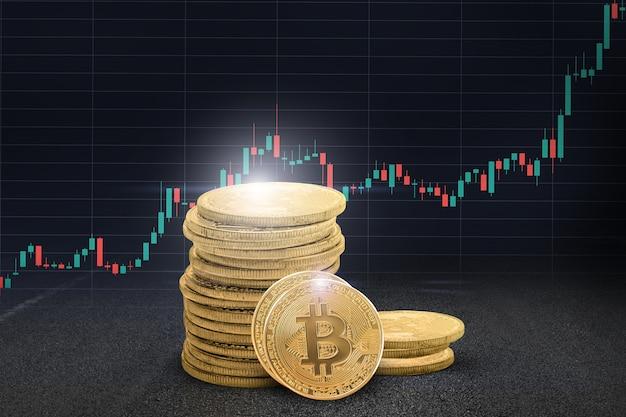 Wykres bitcoin za tapetą złota moneta bitcoin czarna tapeta