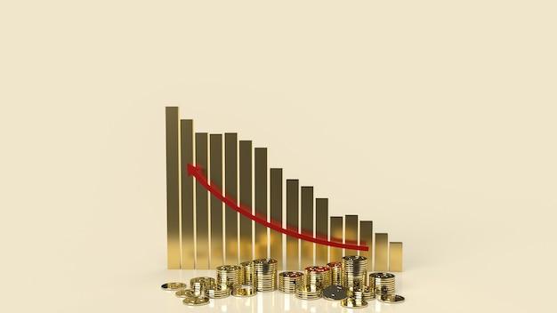 Wykres biznesowy czerwona strzałka w górę i monety do renderowania 3d treści biznesowych.