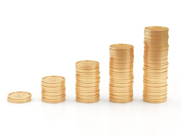 Wykres biznesowy ze złotych monet