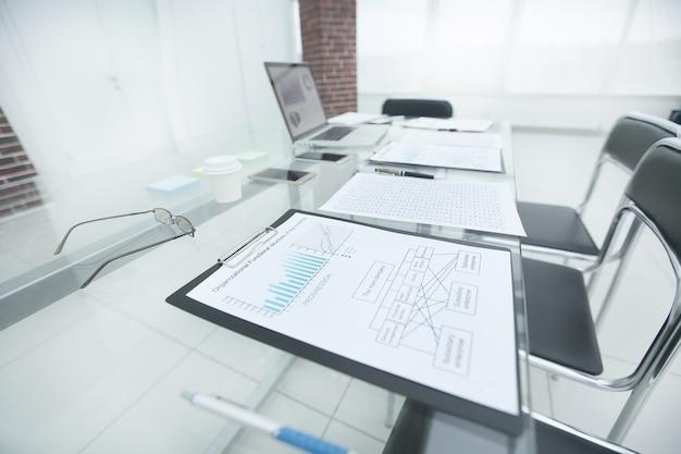 Wykres finansowy raportu na szklanym stole w biurze